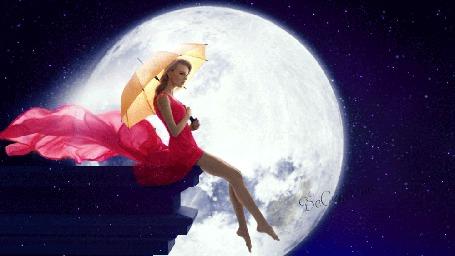 Анимация Девушка с зонтиком сидит на краю крыши на фоне полной луны (© Bezchyfstv), добавлено: 29.03.2015 18:53