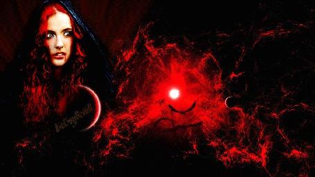 Анимация Девушка-вамп на фоне краснеющего ночного неба, летят летучие мыши