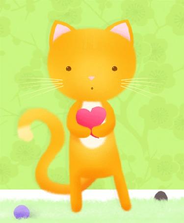 Анимация Рыжий кот с сердечком (© Solist), добавлено: 30.03.2015 14:29