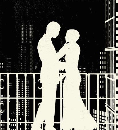 Анимация Девушка целуется на балконе с мужчиной под дождем на фоне ночного города (© Anatol), добавлено: 30.03.2015 15:38