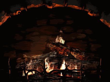 Анимация В камине жарким пламенем горят дрова, издавая приятное тепло (© Anatol), добавлено: 30.03.2015 15:48