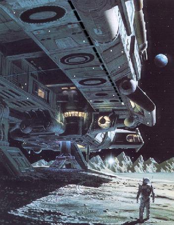 Анимация Космонавт стоит перед опустившимся на поверхность Луны космическим кораблем
