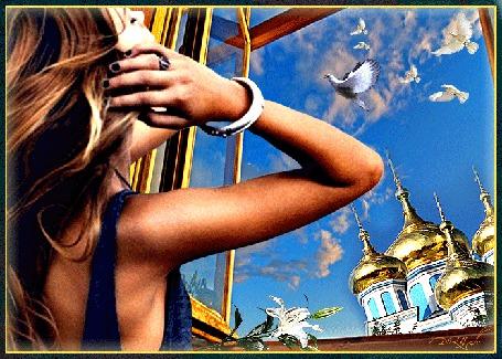 Анимация Девушка стоит у открытого окна, на подоконнике лежит цветок лилии, за окном, на фоне неба, церковь, облака, голуби,