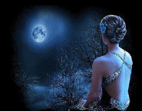 Анимация Девушка в платье с открытой спиной, сидит и смотрит на ночное небо с полной Луной
