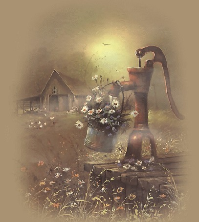 Анимация Дачный домик, колонка, с которой течет вода в банку с белыми ромашками и рядом растущее великое множество цветов (© Akela), добавлено: 31.03.2015 01:25