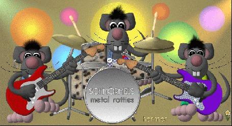 Анимация Три мыши, одна на ударных, две на щипковых инструментах исполняют музыкальный номер, SCHMORMELS metall ratties, herkner