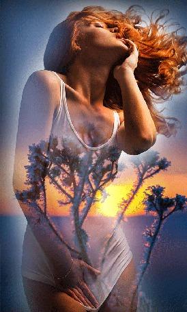Анимация Девушка стоит оттягивая одной рукой вниз белую майку, второй рукой взявши себя за нижнюю губу, на фоне растений и восходящего Солнца на небе