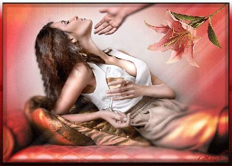 Анимация Девушка лежит на диване и держит в руках бокал с вином, рука, цветок лилии (© ДОЛЬКА), добавлено: 31.03.2015 01:39