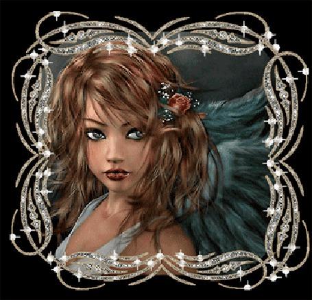 Анимация Девушка ангел с розой в волосах