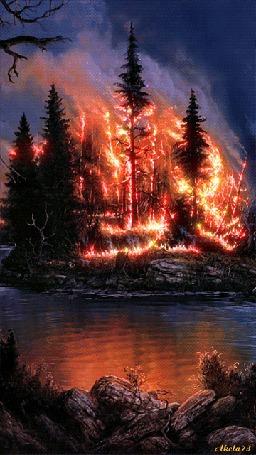 Анимация Пылающий огнем лес (Akela73)