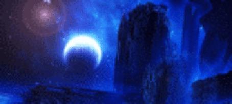 Анимация Светящиеся блики от сияния месяца, by kpekep (© zmeiy), добавлено: 31.03.2015 20:15