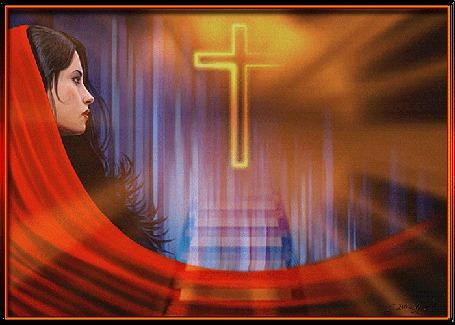 Анимация Дева Мария стоит возле ступенек, восходящих на небо, голова покрыта красным шарфом, на пути сияющий крест, религия (© ДОЛЬКА), добавлено: 31.03.2015 21:32