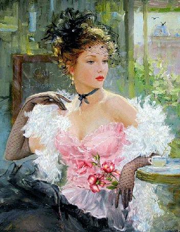 Анимация Девушка с украшением на голове, в розовой кофточке с открытыми плечами и черной юбке, сидит около столика, на котором стоит чашка с блюдцем, на руках у нее перчатки, плечи покрыты белой накидкой, в руке она держит цветы