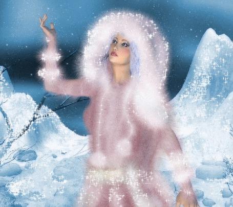 Анимация Сверкающая девушка в зимней меховой одежде подняла вверх руку (© Akela), добавлено: 01.03.2015 04:48
