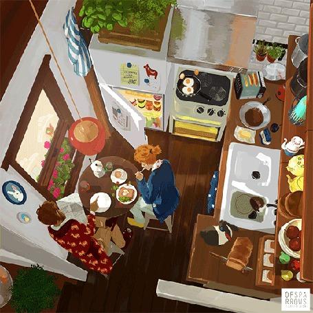 Анимация Парень и девушка завтракают