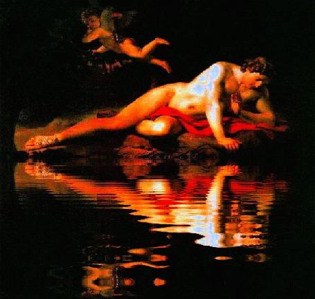 Анимация Карл Павлович Брюллов. Нарцисс, смотрящий в воду. (отражение воды)