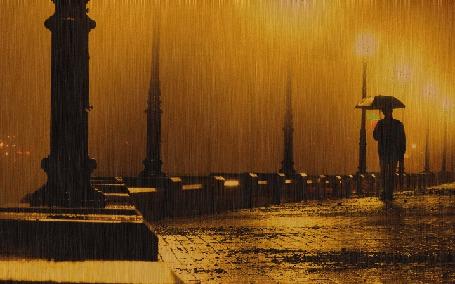 Анимация Дождь, парень с зонтом, дорога, тусклые фонари (© Георгий Тамбовцев), добавлено: 01.03.2015 17:28