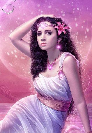 Анимация Девушка с диадемой на голове и цветком в волосах, сидит на фоне мерцающей Луны и пролетающих по небу птицами