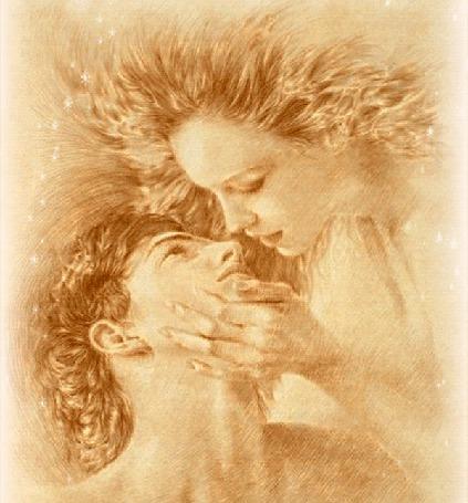 Анимация Девушка держит рукой парня за подбородок и целует