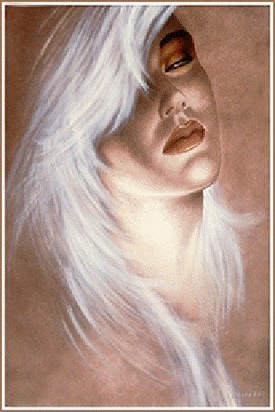 Анимация Мечтательная, томная девушка блондинка с полуприкрытыми глазами