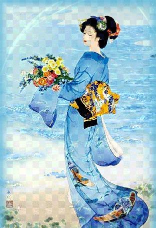 Анимация Девушка восточной наружности в национальном японском наряде стоит на фоне воды и держит в руках букет цветов. В небе пролетает птица (© Akela), добавлено: 02.03.2015 16:58