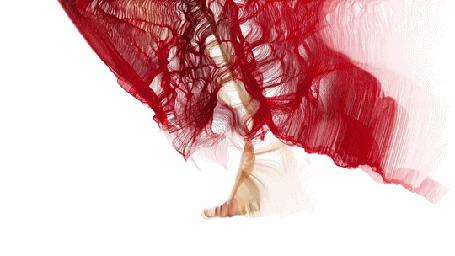 Анимация Медленно шагающая ножка девушки в красном платье