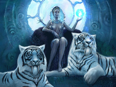 Анимация Саблезубые тигры лежат у трона правительницы со сферой в руке