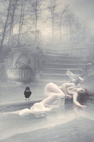 Анимация Девушка-ангел лежит на краю фонтана, работа Nina-Y