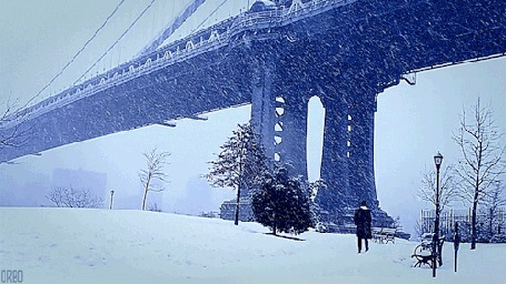Анимация Человек стоит у моста, под снегопадом (© Seona), добавлено: 03.03.2015 12:41