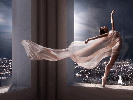 Анимация Балерина, окутанная розовой тканью, стоящая перед окном высокого здания (© Leto), добавлено: 03.03.2015 22:39