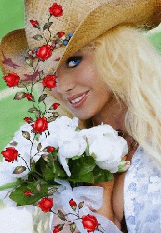 Анимация Девушка в шляпе и с цветами (© zmeiy), добавлено: 04.03.2015 00:07