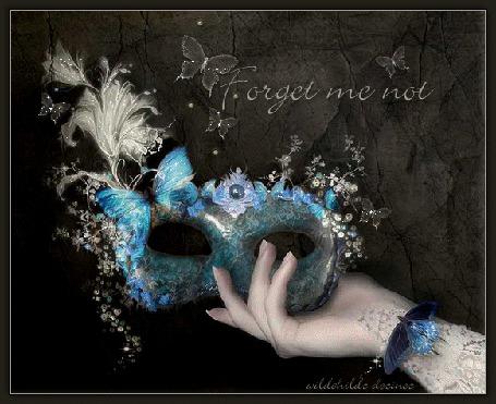 Анимация Маскарадная маска с бабочками в руке (Forget me not / Не забудь меня)