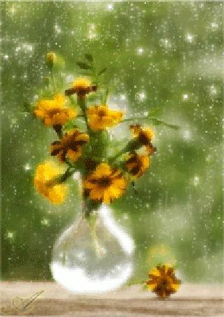 Анимация На подоконнике у окна стоит ваза с цветами, идет дожь