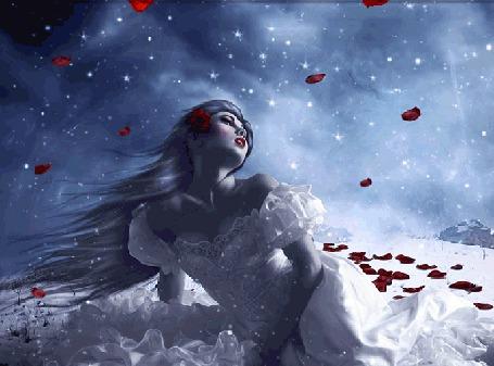 Анимация Девушка в белом платье сидит на снегу, среди лепестков красной розы и на нее сверху падают лепестки роз