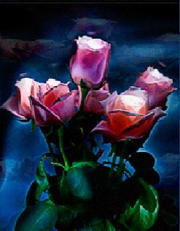 Анимация Букет розовых роз в голубой дымке