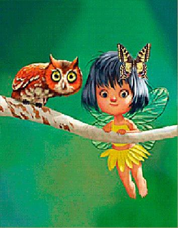 Анимация Девочка фея шевеля крылышками держится руками за ветку, на которой сидит сова. У девушки на голове сидит бабочка, которая шевелит крылышками (© Akela), добавлено: 05.03.2015 02:00