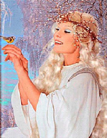 Анимация Девушка Весна улыбается и держит птичку на своей руке (© Akela), добавлено: 05.03.2015 02:03