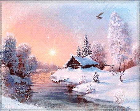 Анимация Восходящее солнце освещает домик, стоящий на берегу реки, в небе парит птица, by Mira