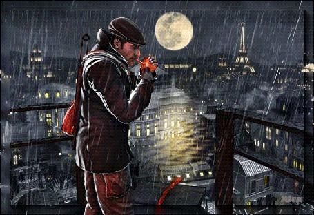 Анимация Мужчина под дождем подкуривает сигарету на фоне ночного Парижа, by Mira (© Tiana), добавлено: 05.03.2015 09:02