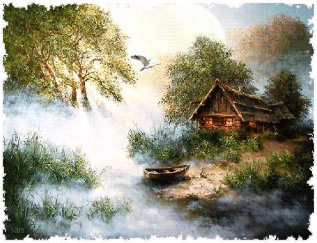 Анимация Домик в лесу на берегу реки, окутанной туманом, в небе парит птица, by Mira
