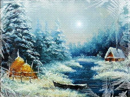 Анимация Домик в заснеженном лесу возле реки, идет снег, by Mira