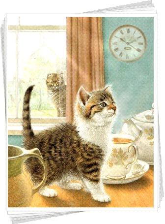 Анимация За окном сидит кошка, которая наблюдает за котенком на столе возле чайной кружки и чайничка, by Mira (© Tiana), добавлено: 05.03.2015 09:08