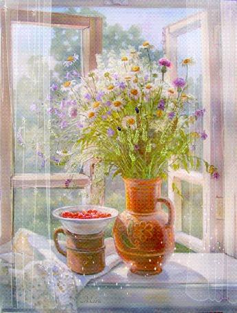 Анимация Кувшин с полевыми цветами стоит на подоконнике, рядом стоит кружка и тарелочка ягод, by Mira