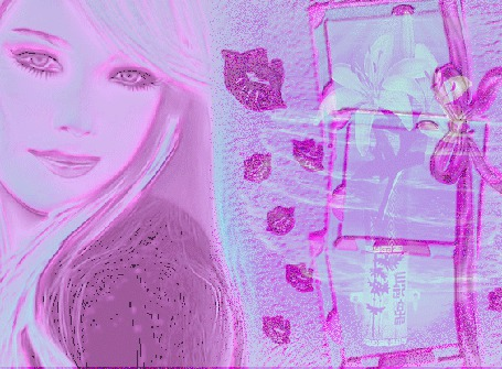 Анимация Выполненные в розовых тонах лицо девушки, коробки с подарками и следы от женских губ