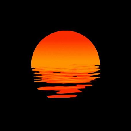 Анимация Красное Солнце садится за горизонт, отражаясь в воде