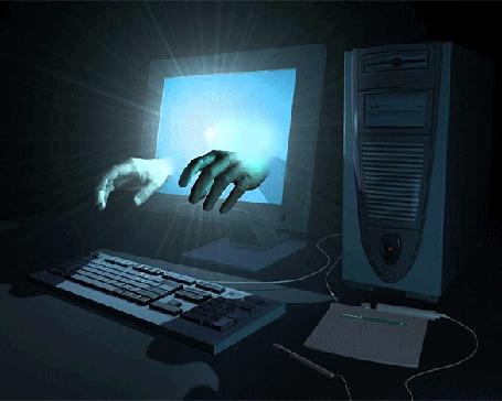 Анимация Руки тянутся из светящегося монитора компьютера к клавиатуре (© царица Томара), добавлено: 05.03.2015 16:41