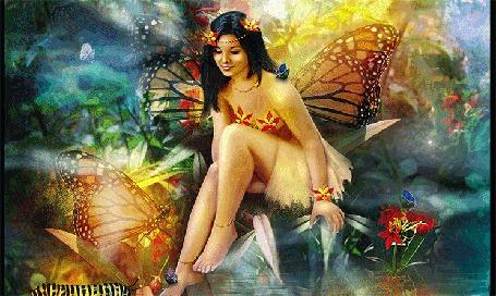 Анимация Девушка с крыльями сидит у водоема вокруг летают бабочки