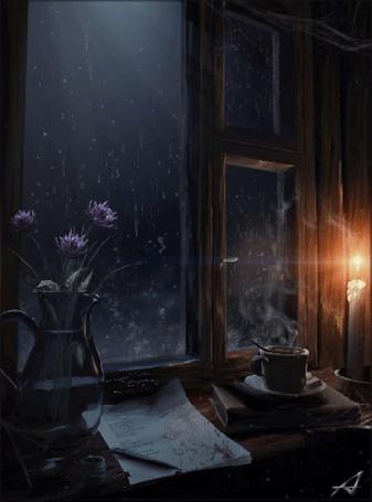 Анимация Ваза с цветами, дымящаяся чашка кофе и горящая свеча стоят на подоконнике у окна, за которым идет дождь