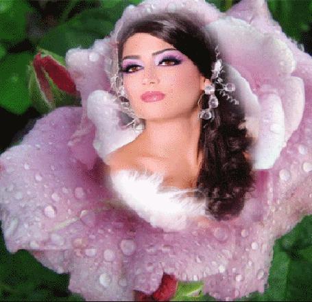 Анимация Девушка внутри цветка, на лепестках которого двигаются капли воды