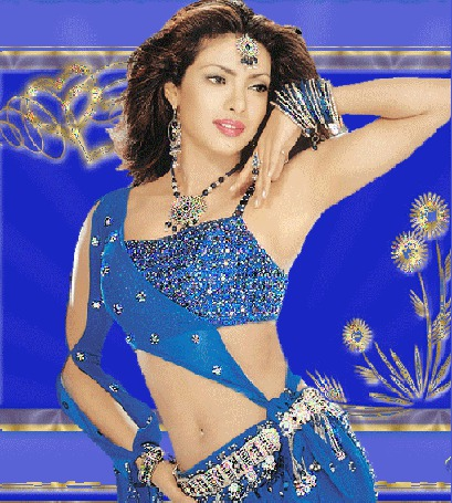 Анимация Индийская актриса Приянка Чопра / Priyanka Chopra / в национальном наряде